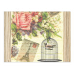 Vintage Bird Floral French Paris Eiffel Tower