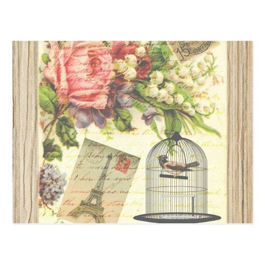 Vintage Bird Floral French Paris Eiffel Tower Postcard
