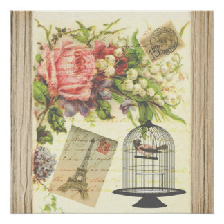 Vintage Bird Floral French Paris Eiffel Tower Poster