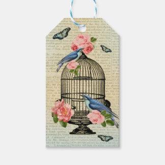 Vintage bird & flower feminine & girly gift tags