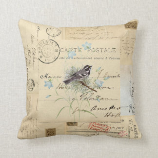 Vintage Bird Flowers French Postcard Pillow