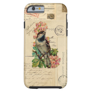 Vintage Bird Flowers French Postcards Case Tough iPhone 6 Case