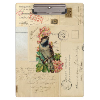 Vintage Bird Flowers French Postcards Clipboard