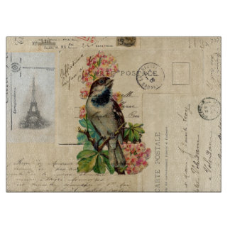 Vintage Bird Flowers French Postcards Cutting Board