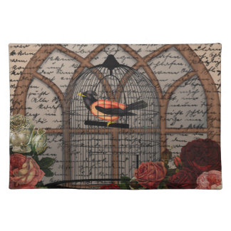 Vintage bird in the cage placemat
