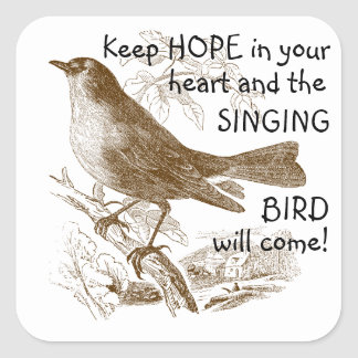Vintage Bird Keep Hope in your Heart Stickers
