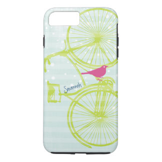 Vintage Bird Lime Green Bike Pattern Iphone 5 iPhone 7 Plus Case