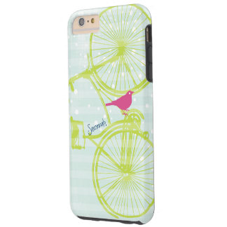 Vintage Bird Lime Green Bike Pattern Iphone 5 Tough iPhone 6 Plus Case