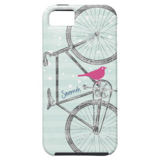Vintage Bird Mint Green Bike Pattern Iphone 5 iPhone 5 Case