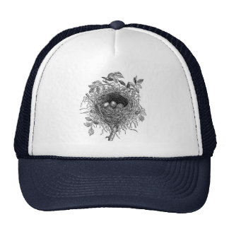 Vintage Bird Nest Illustration Mesh Hat
