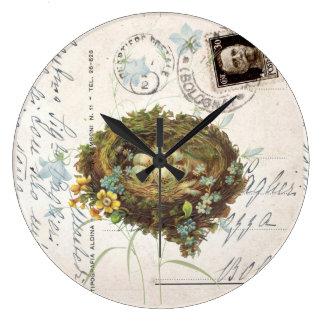 Vintage Bird Nest Italian Postcard Clock