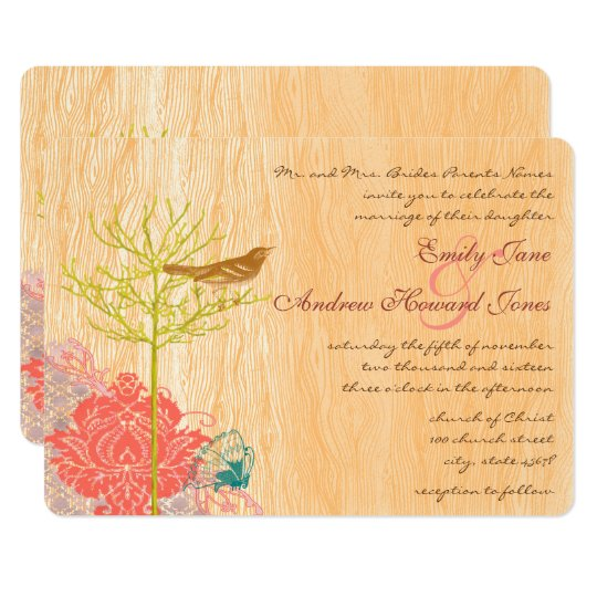 Vintage Bird on Wood Grain Wedding Invitation