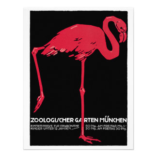 Vintage Bird Pink Flamingo at Germany Munich Zoo Custom Announcements