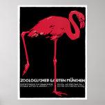 Vintage Bird Pink Flamingo at Germany Munich Zoo Poster