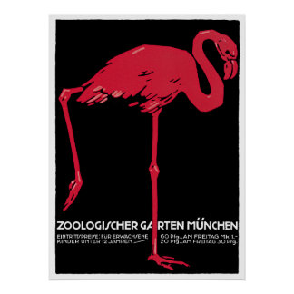 Vintage Bird Pink Flamingo at Germany Munich Zoo Poster
