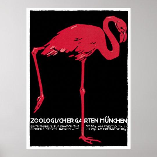 Vintage Bird Pink Flamingo at Germany Munich Zoo