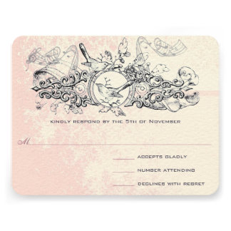 Vintage Bird Pink Musical Scroll Wedding RSVP Personalized Announcement