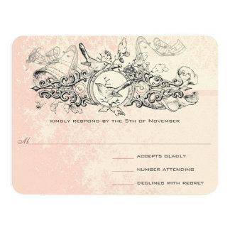 "Vintage Bird Pink Musical Scroll Wedding RSVP 4.25"" X 5.5"" Invitation Card"