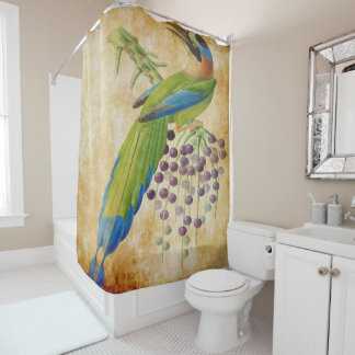 vintage bird print 3 shower curtain