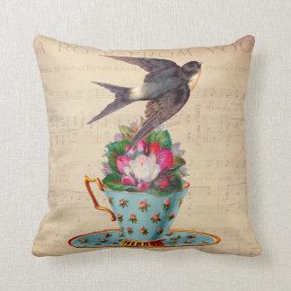 Vintage Bird, Roses, and Teacup Cushion