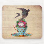 Vintage Bird, Roses, and Teacup Mouse Mat
