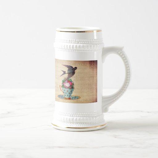 Vintage Bird, Roses, and Teacup Mug