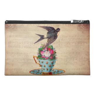 Vintage Bird, Roses, and Teacup Travel Accessory Bags