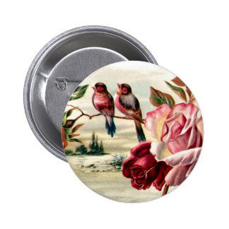 Vintage Bird Roses Button