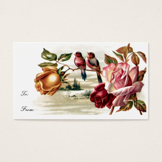 Vintage Bird Roses Gift Tag