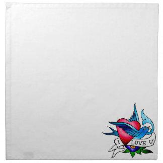 vintage bird tattoo cloth napkins