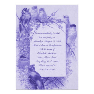 Vintage Bird Tea Party Custom Announcement