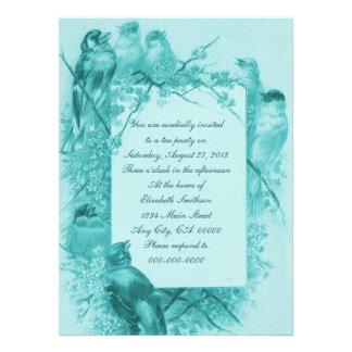 Vintage Bird Tea Party Invitations