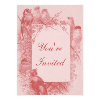 Vintage Bird Tea Party Personalized Invitation