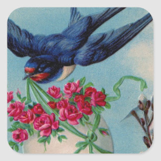 Vintage Bird With Easter Egg & Flowers Easter Card Square Sticker