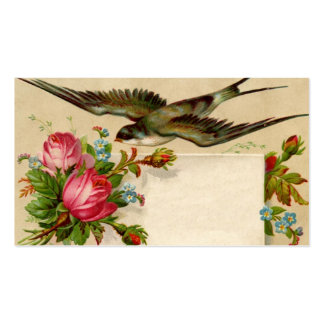 Vintage Bird With Flowers Double-Sided Standard Business Cards (Pack Of 100)