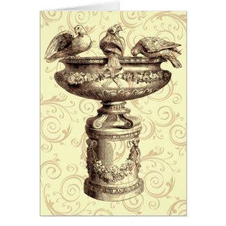 Vintage Birdbath Card