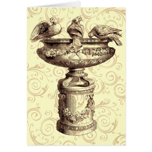 Vintage Birdbath Greeting Card