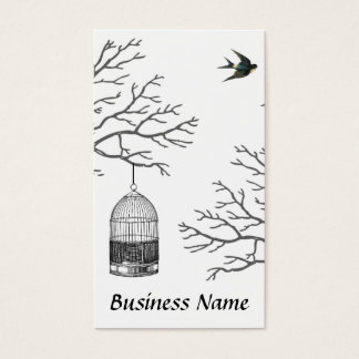 Vintage Birdcage Bare Branch Swallow Business Card