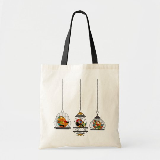 Vintage Birdcage Bird Tote Bag