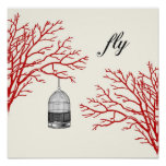 """Vintage Birdcage Red Branches """"fly"""" Poster"""