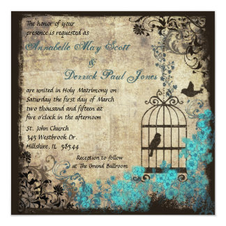"Vintage Birdcage Wedding Invitation Blue 5.25"" Square Invitation Card"