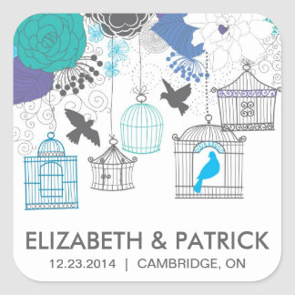 Vintage Birdcages and Flowers Wedding Sticker