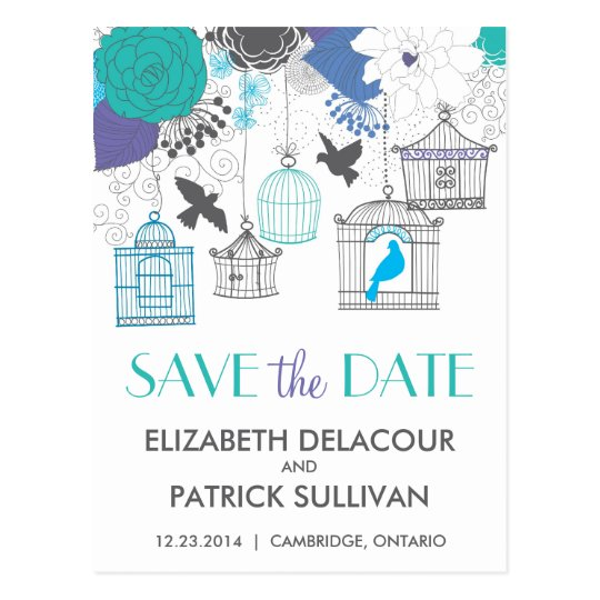 Vintage Birdcages & Flowers Save the Date Postcard