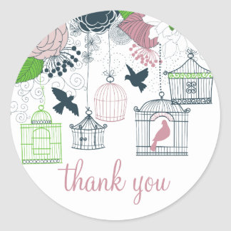 Vintage Birdcages Spring Floral Thank You Sticker