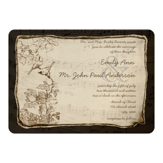Vintage Birds Aged Gold Metallic Parchment Wedding Card