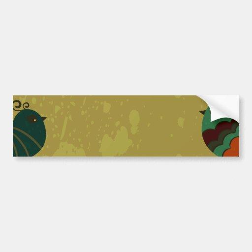 vintage birds and floral design bumper sticker