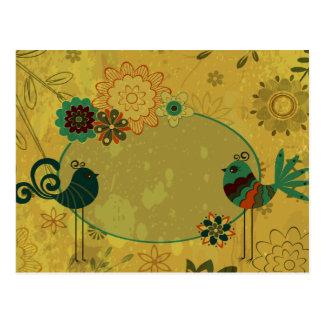 vintage birds and floral design postcard