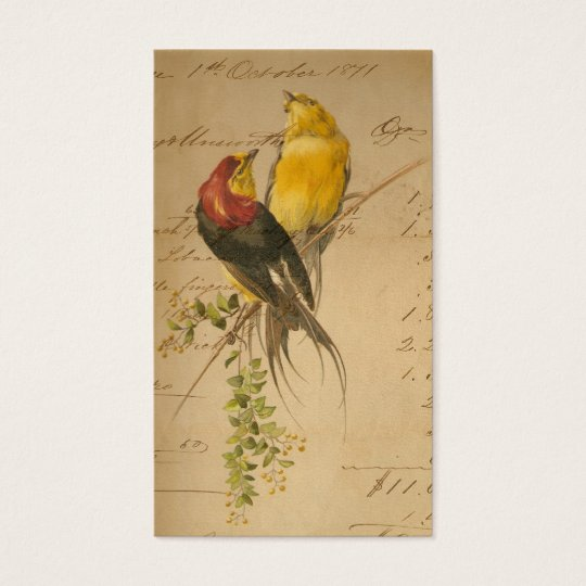 Vintage Birds and Ledger Paper Business Card