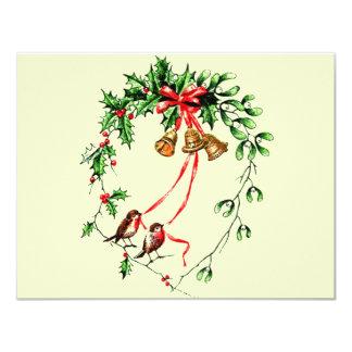 Vintage *Birds, Bells and Christmas Holly* Wreath 11 Cm X 14 Cm Invitation Card
