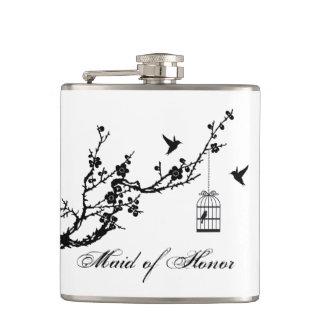 Vintage birds birdcage Maid of Honor wedding gift Hip Flask